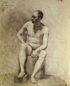 PicassoColorStudyCharcoalCrayon1896