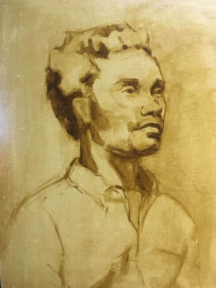 Drawing in brown paint